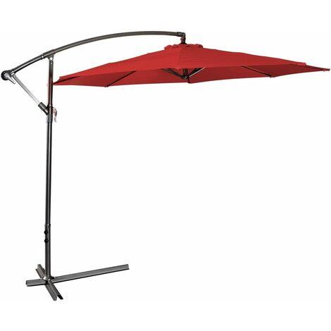 Sombrilla Parasol Excéntrico 3m para Terreza Jardín Fiestas patio Protección Solar con Ajuste de la Mano Vino Rojo