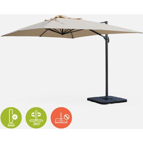 Sombrilla, Parasol excentrico rectangular, Beige, 300x400cm | St Jean De Luz