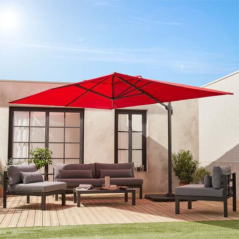 Sombrilla, Parasol excentrico rectangular, Rojo, 300x400cm | St Jean De Luz