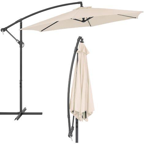 "main image of ""Sombrilla parasol jardín tubo de aluminio paraguas curvable redonda crema 3m"""