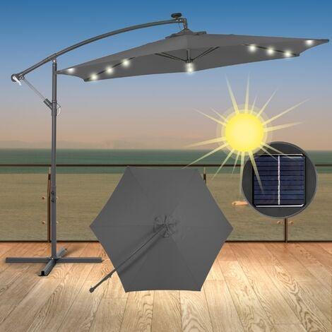 Sombrilla parasol luz solar jardín aluminio paragua curvada redonda antracita 3m