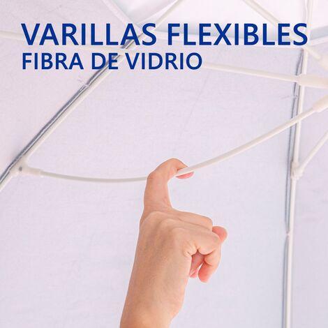 """main image of """"Sombrilla playa antiviento de rayas azul y blanco de aluminio y fibra de vidrio de Ø 240 cm"""""""