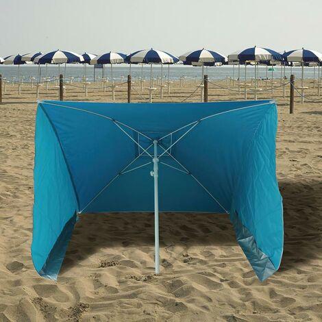 Sombrilla playa con laterales antiviento 170x170 cm.