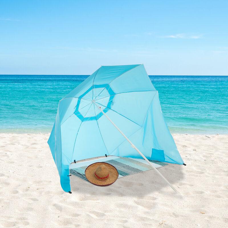 sombrilla Playa Cortavientos con Bolsa Azul 210 x 180 cm Relaxdays