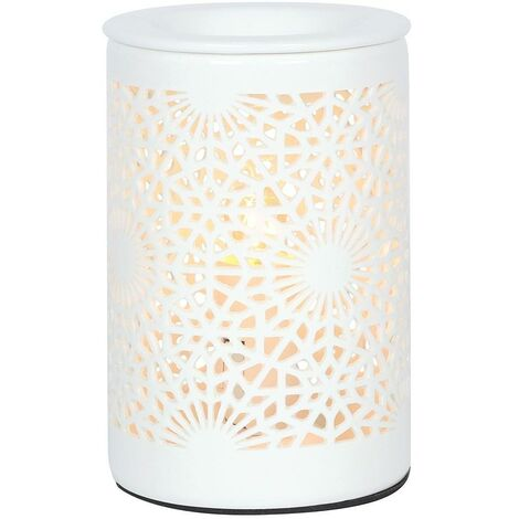 Something Different Lace Cut Out Electric Oil Burner (UK Plug) (One Size) (White)