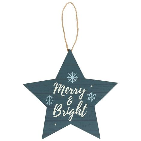Something Different Merry & Bright Star Christmas Tree Decoration (One Size) (Blue)