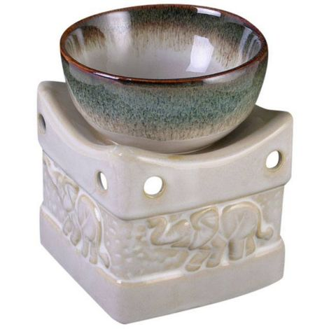 Something Different Two Tone Elephant Oil Burner (One Size) (Cream/Green)
