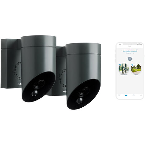 Somfy 1870472 - 2 Outdoor Camera grises, caméras extérieures sans fil