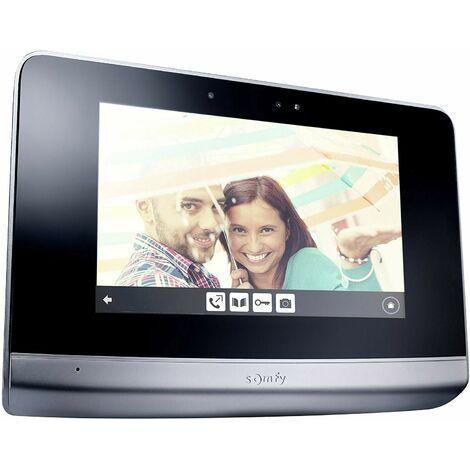 Somfy 2401458 - Moniteur Visiophone V500 Noir, Moniteur intérieur additionnel avec écran 7 Pouces