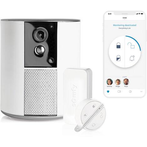 Somfy One +, système d'alarme doté d'une caméra intégrée avec 2 détecteurs d'ouverture IntelliTAG et 1 badge Key Fob - 1875249