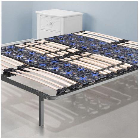 Sommier Nightitude   90x190cm   Sommier à lattes et plots flexibles   Pieds inclus