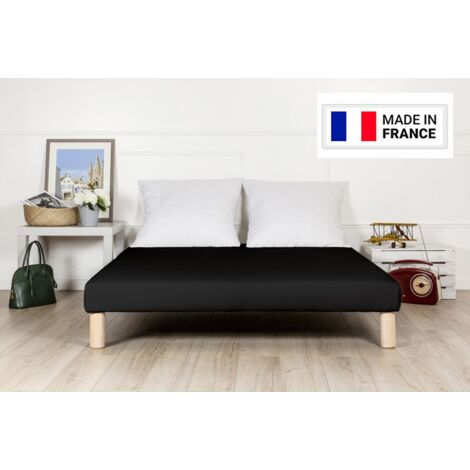 Sommier tapissier 130x190cm noir fabrique en france avec pieds