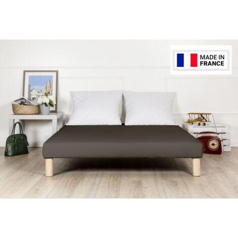 Sommier tapissier 130x200cm marron fabrique en france avec pieds