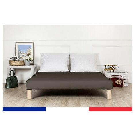 Sommier tapissier 130x200cm noir fabrique en france avec pieds