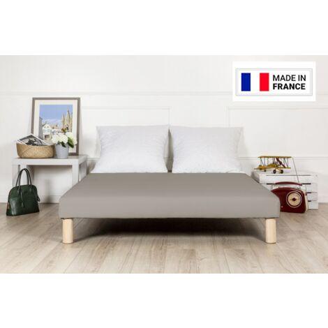 Sommier tapissier 140x190 gris fabrique en france avec pieds