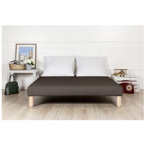 Sommier tapissier 140x190 marron fabrique en france + pieds fabrication francaise