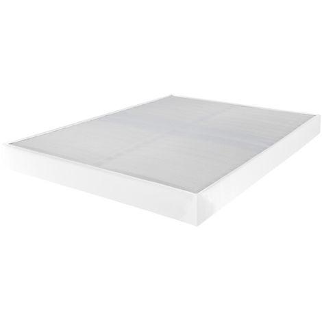 Sommier tapissier 140x190 Omega simili blanc 2x18 lattes