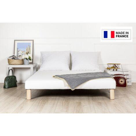 Sommier tapissier 140x190cm fabrique en france pieds fabrication francaise