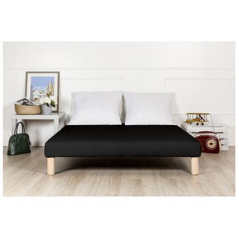 Sommier tapissier 140x200 noir pieds fabrication francaise