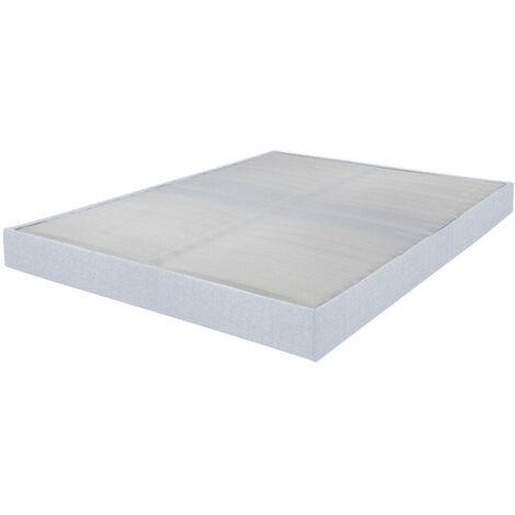 Sommier tapissier 140x200 Omega tissu nacre 2x18 lattes