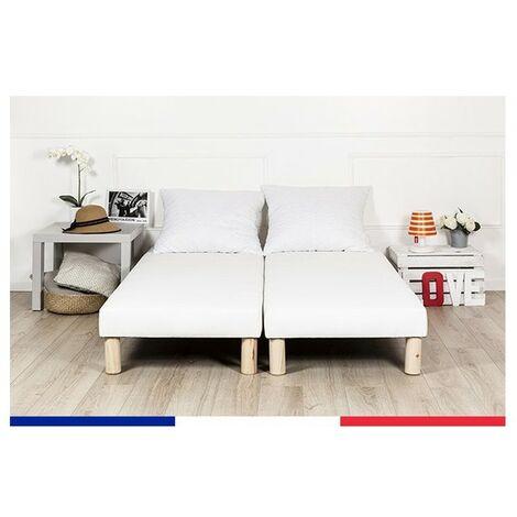 Sommier tapissier 140x200cm fabrique en france + pieds