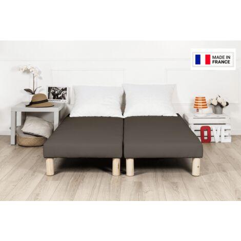 Sommier tapissier 180x200cm marron fabrique en france avec pieds