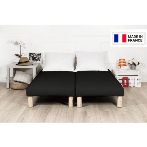 Sommier tapissier 180x200cm noir fabrique en france avec pieds