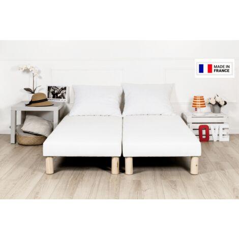 Sommier tapissier 200x200cm blanc fabrication francaise avec pieds