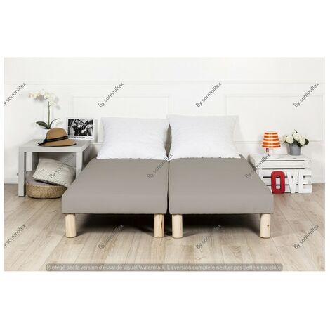 Sommier tapissier 200x200cm gris fabrication francaise avec pieds