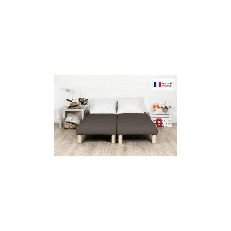 Sommier tapissier 200x200cm marron fabrication francaise avec pieds