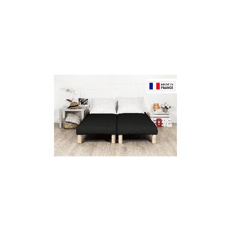 Sommier tapissier 200x200cm noir fabrication francaise avec pieds