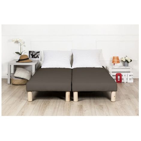 Sommier tapissier 2x70x190 marron(140x190) fabrique en france pieds