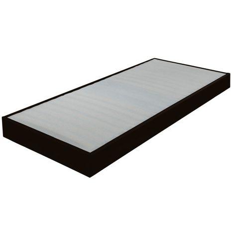 Sommier tapissier 70x190 Omega simili noir 18 lattes