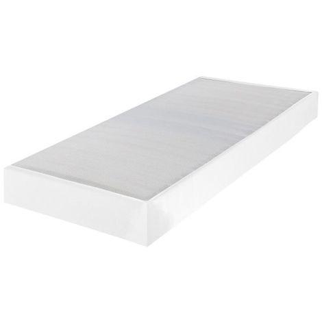 Sommier tapissier 80x200 Omega simili blanc 18 lattes