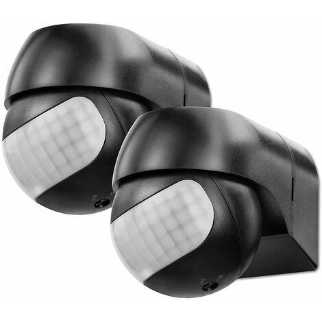 Sonero IMS081 Détecteur de Mouvement Infrarouge - Montage Intérieur/Extérieur, Orientable, Indice de Protection: IP44, Champ de Travail 180 ° / 12M, Noir (Jeu de 2)