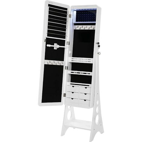 SONGMICS 8 LEDs Jewellery Cabinet with Bevel Edge Mirror Lockable Standing Armoire Organizer with 6 Drawers and Earring Board White JBC89WT