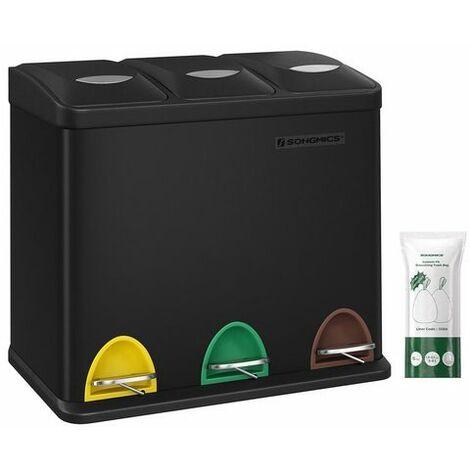 Mülleimer für die Küche, 3-in-1 Abfalleimer, 24 Liter, Mülltrennung, Treteimer aus Metall, Mülltrennsystem, robust, einfach zu reinigen, Stahl, Schwarz LTB24BK - Schwarz