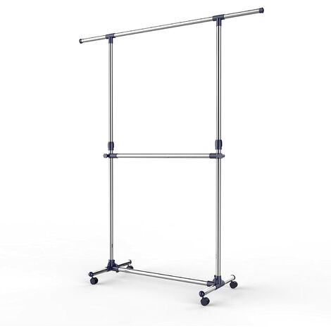 Adjustable Garment Rack Clothes Hanging Rail Stand with Middle Rail - Stainless Steel Clad Pipe LLR41L