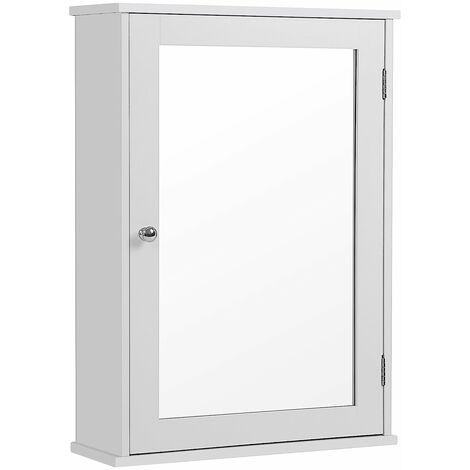 Bathroom Mirror Cabinet Storage Cubboard with Single Door Wall Mounted Hanging Shelf Wooden White 41 x 14 x 60cm (W x D x H) LHC001
