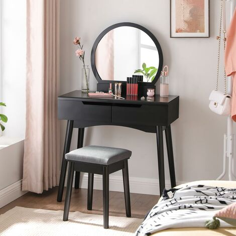 SONGMICS Dressing Table Set with Round Mirror, 2 Large Sliding Drawers, Cushion Stool, White and Natural/White/Black