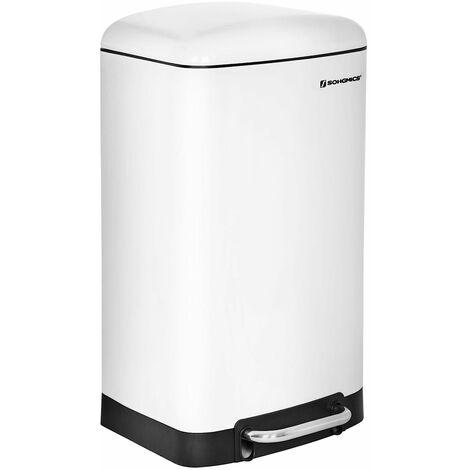 Mülleimer Abfalleimer Abfallbehälter für Küche 30L Treteimer Edelstahl Weiß LTB01W - White