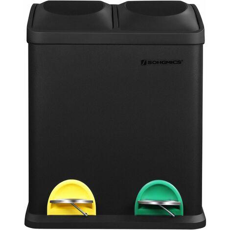 Mülleimer 30 Liter, Mülltrennung, 2 x 15 Liter, Abfalleimer, Treteimer mit Inneneimern, farbigen Pedalen, Mülltrennsystem für die Küche, Schwarz LTB30B - Black