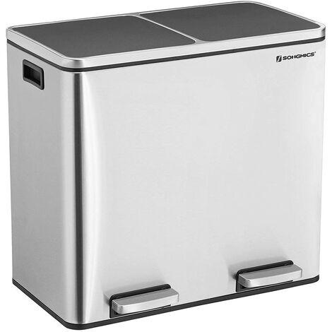 48L Mülleimer Mülltrennung Mülltrennsysteme mit 2 Inneneimern Treteimer für Küche Edelstahl 2 x 24L LTB48NL - Gris métallisé
