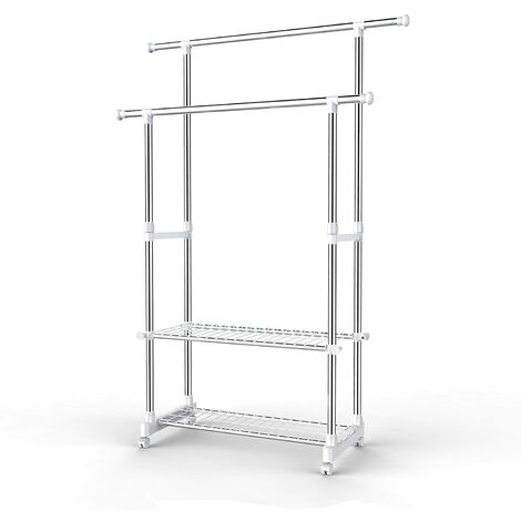 Multifunctional Garment Rack Coat Hanging Rail Clothes Stand with Shoes Rack Adjustable 96-172cm - Stainless Steel Clad Pipe LLR03W