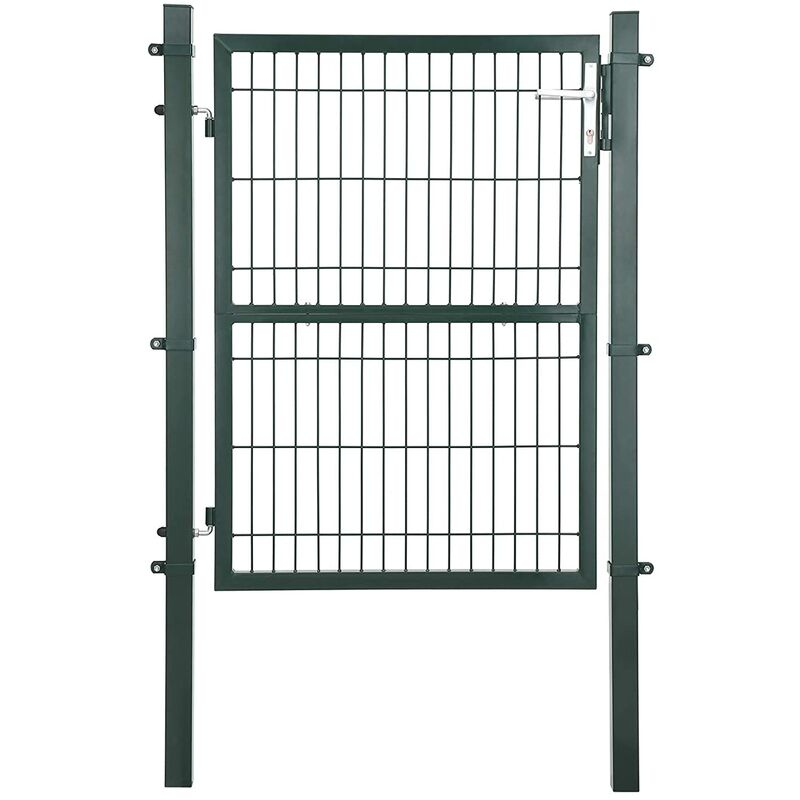 Portail de Jardin en Acier galvanisé Robuste et Durable avec Serrure et clé Vert 125 x 106 cm GGD175L - Grün