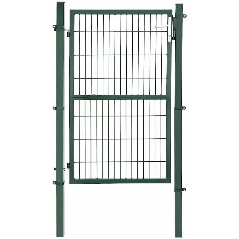 Portail de Jardin en Acier galvanisé Robuste et Durable avec Serrure et clé Vert 150 x 106 cm GGD200L - Verde