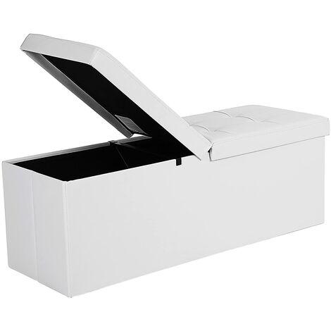 Baúl Puff Taburete para almacenaje Plegable Carga Máxima de 300 kg Blanco 110 x 38 x 38 cm LSF75WT