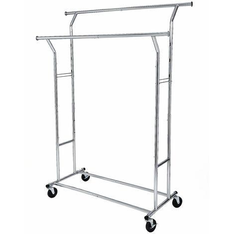 Schwerlast Metall Kleiderständer auf Rädern, bis 110kg belastbar, Länge: 129-189cm, Chrom HSR12S - Silver