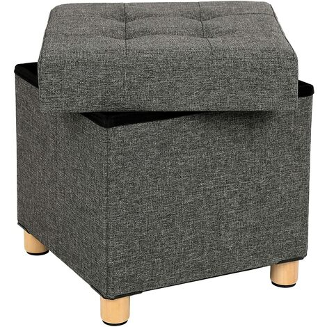 Sitzhocker viereckige Sitztruhe Fußhocker Aufbewahrungsbox mit Holzfüßen Deckel 38 x 40 x 38cm Dunkelgrau LSF14GYZ