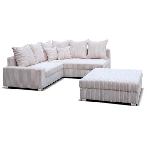 Sonia Corner Group Chaise Sofa Cord Fabric + Footstool
